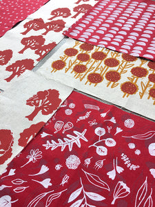 Organic fabric bundle – red, orange, yellow