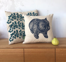 Load image into Gallery viewer, Wombat front + back cushion – navy