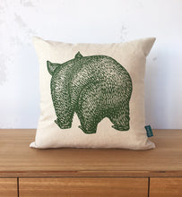 Load image into Gallery viewer, Wombat front + back cushion cover – eucalyptus