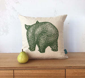 Wombat front + back cushion cover – eucalyptus
