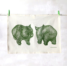 Load image into Gallery viewer, Organic wombat tea towel – eucalyptus