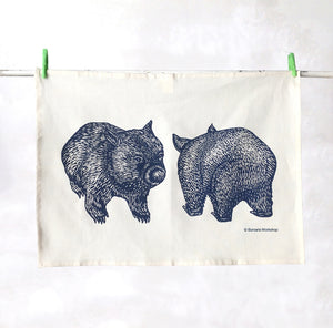 Organic wombat tea towel – navy