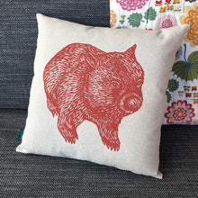 Load image into Gallery viewer, Wombat front + back cushion – rust