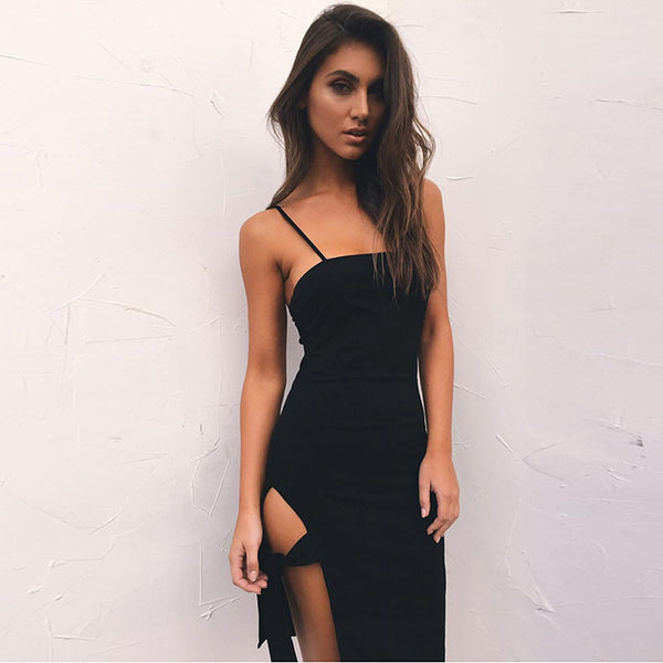 Asymmetrical Summer Black Dress