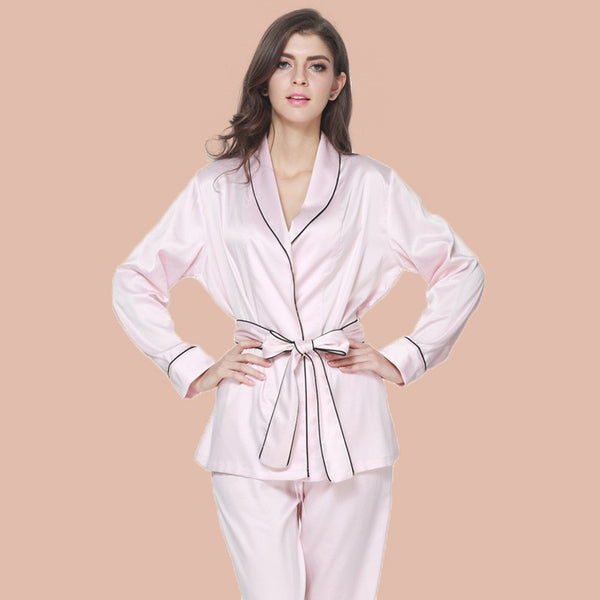 Nightwear satin pajamas with long pants