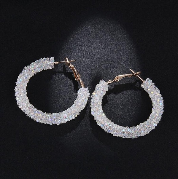Crystal Hoop Earrings Shiny