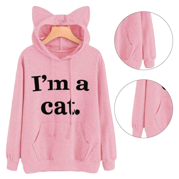 Sleeping Cat Printed Pullover Sweatshirt Hoodie
