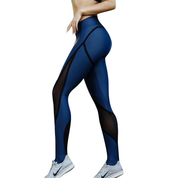 Blue and black mesh leggings