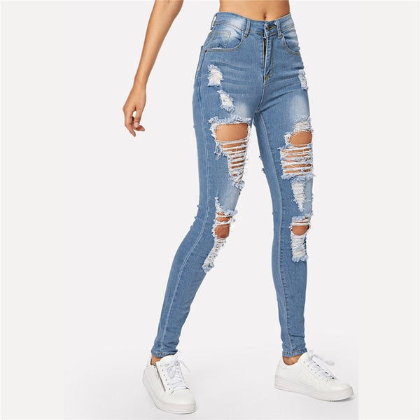 Blue Ripped Skinny Denim Jeans
