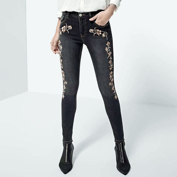 Skinny Jeans With Floral Design