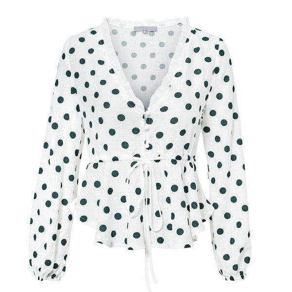 Vintage White Dot Blouse