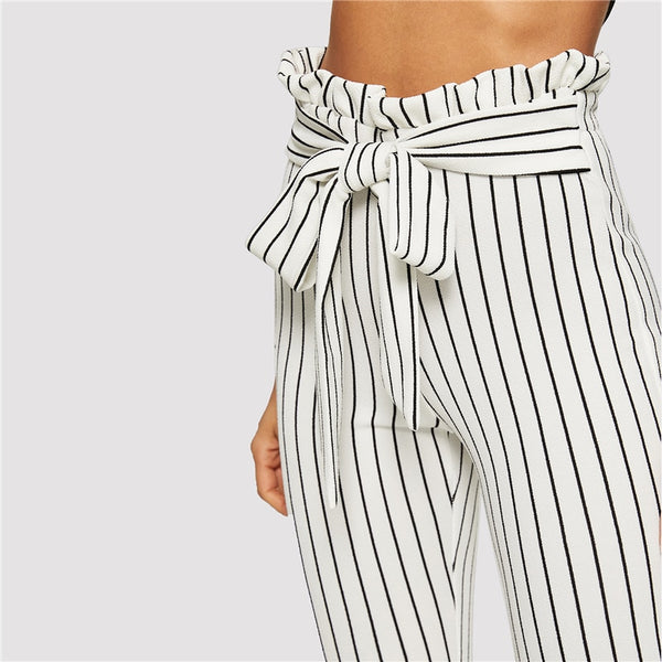 Striped White Pants With Belt