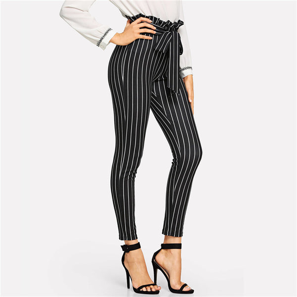 Striped Black Pants With Belt