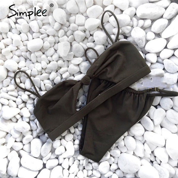 Sexy two pieces bikini drawstring