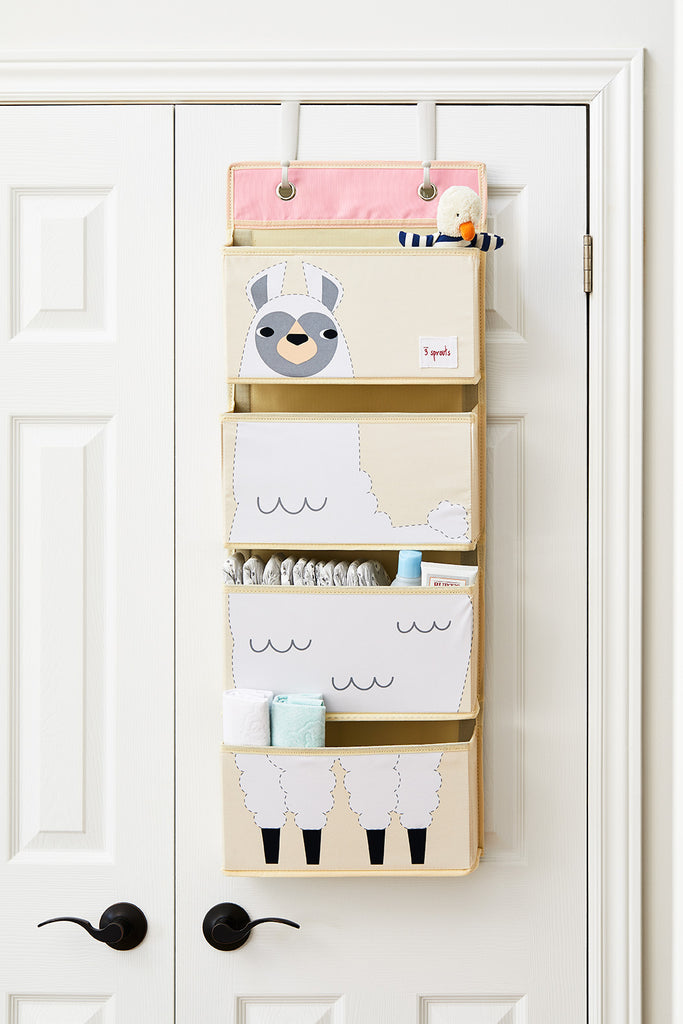Storage Baby Bedroom 3 Sprouts Cotton Canvas Wall Organiser With 3 Pockets