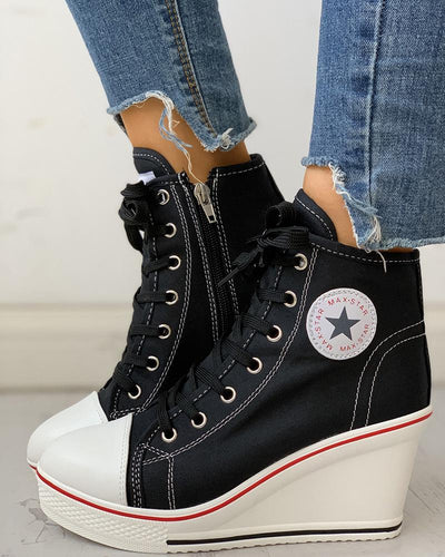 Eyelet Lace-Up Platform Wedge Sneakers