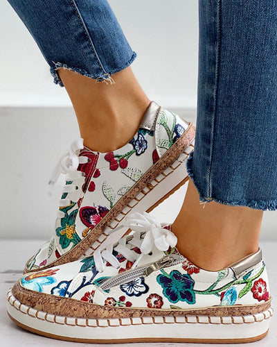 Floral Embroidery Lace-up Muffin Sneakers