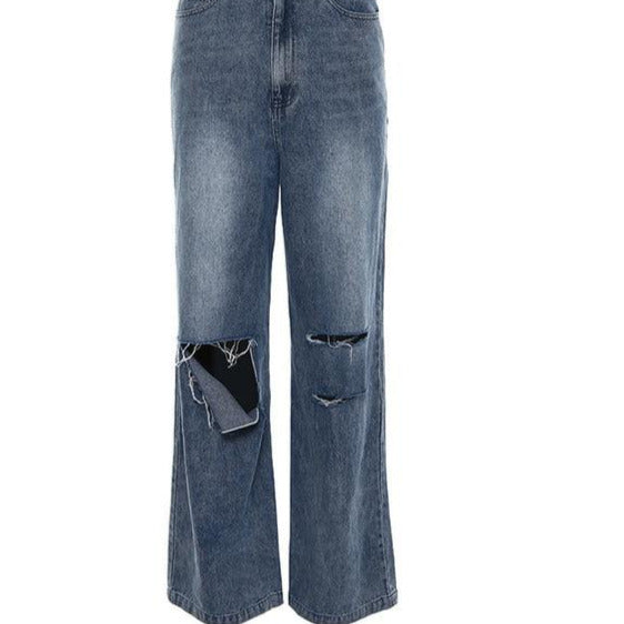 High Waist Jeans Destroyed Ripped Distressed Slim  Pants
