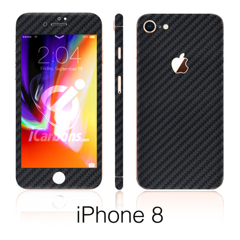 iPhone 8 Black Carbon Fiber Skin