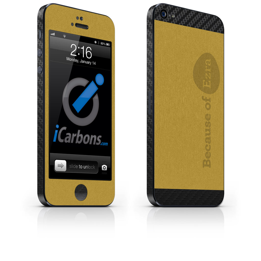 Because of Ezra Brushed Gold iPhone Skin - iCarbons - 1