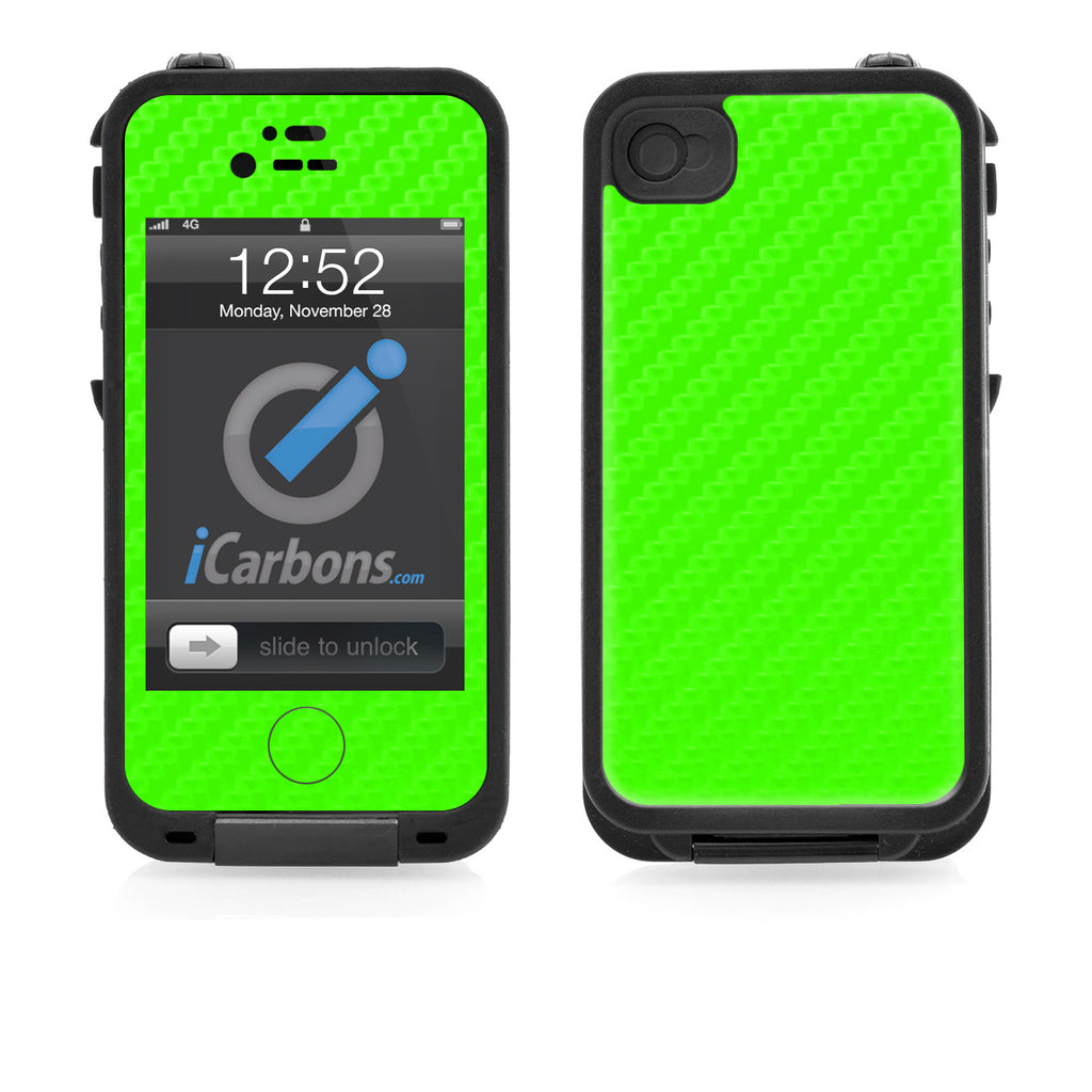 LifeProof Case iPhone 4/4S Skin - Green Carbon Fiber - iCarbons
