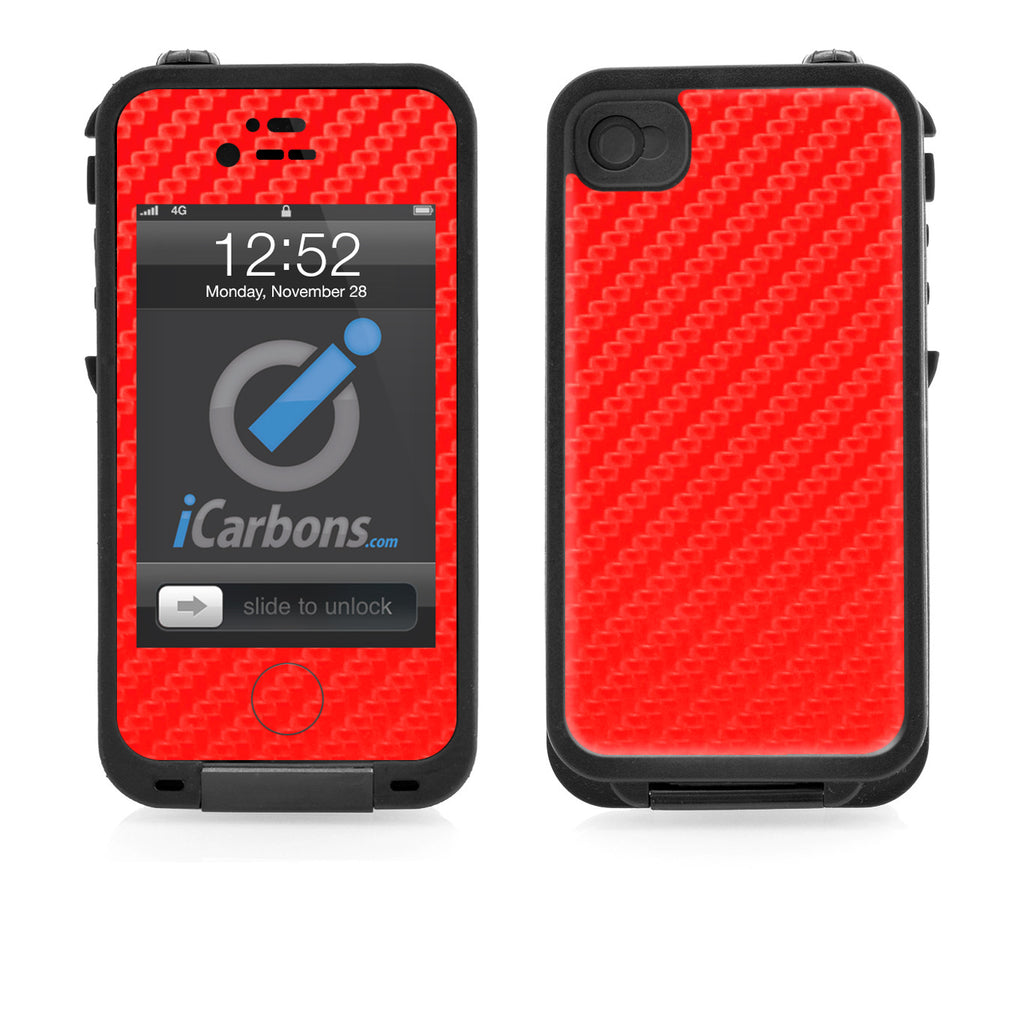 LifeProof Case iPhone 4/4S Skin - Red Carbon Fiber - iCarbons