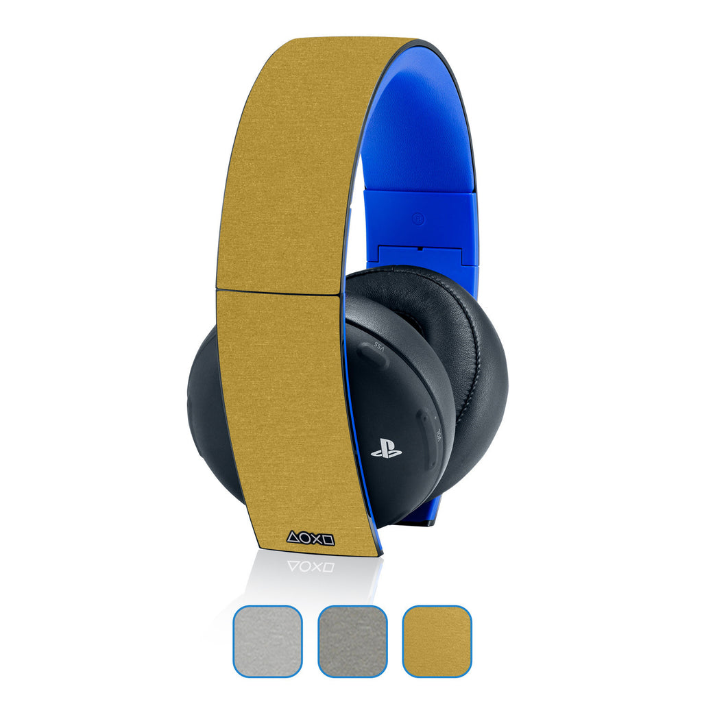 Playstation Gold Wireless Headset Skins - Brushed Metal - iCarbons - 1