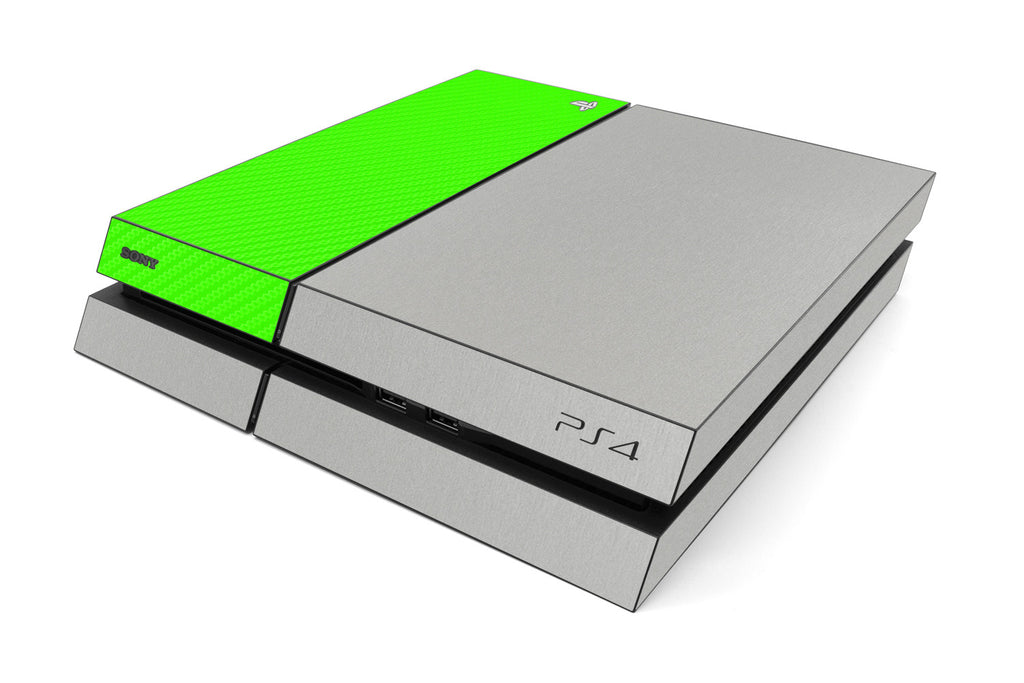 Playstation 4 Two/Tone - Brushed Aluminum/Green Carbon Fiber - iCarbons