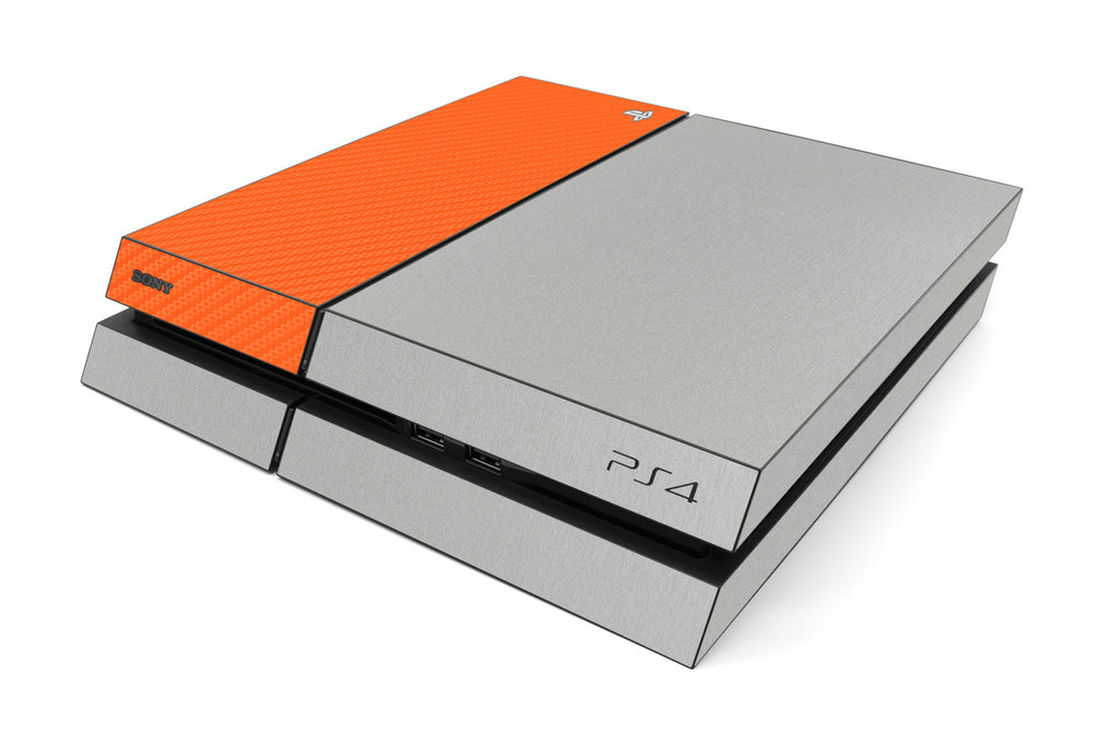 Playstation 4 Two/Tone - Brushed Aluminum/Orange Carbon Fiber - iCarbons