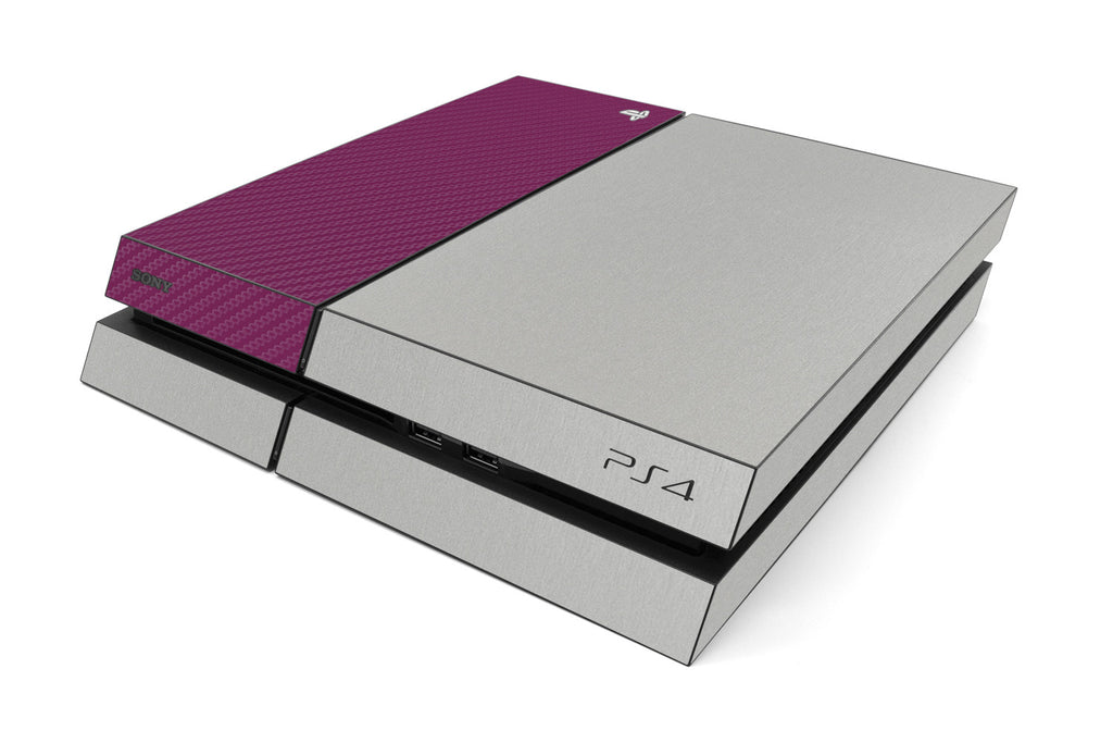 Playstation 4 Two/Tone - Brushed Aluminum/Purple Carbon Fiber - iCarbons