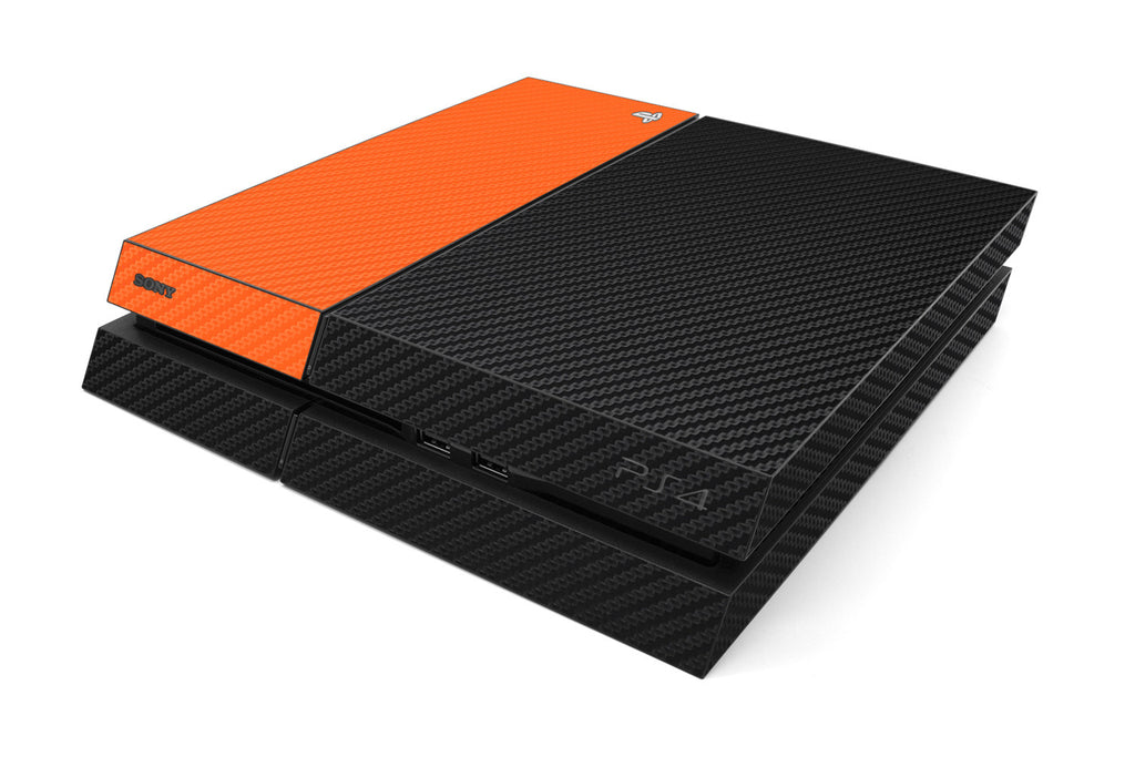 Playstation 4 Two/Tone - Black/Orange Carbon Fiber - iCarbons