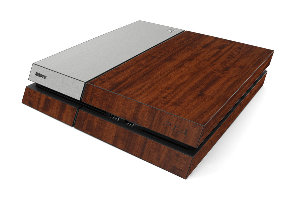 Playstation 4 Two/Tone - Dark Wood/Brushed Aluminum - iCarbons