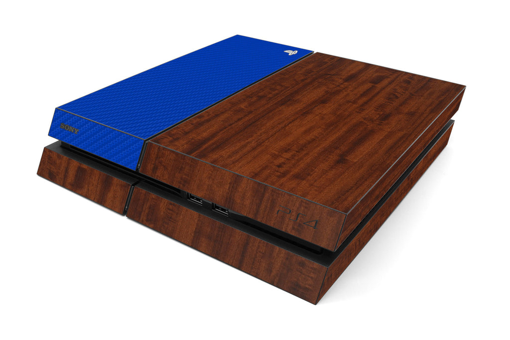 Playstation 4 Two/Tone - Dark Wood/Blue Carbon Fiber - iCarbons