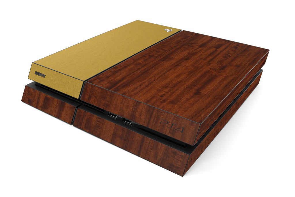 Playstation 4 Two/Tone - Dark Wood/Brushed Gold - iCarbons