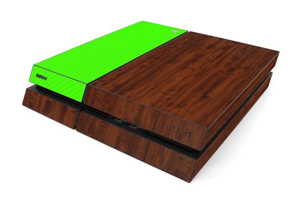 Playstation 4 Two/Tone - Dark Wood/Green Carbon Fiber - iCarbons