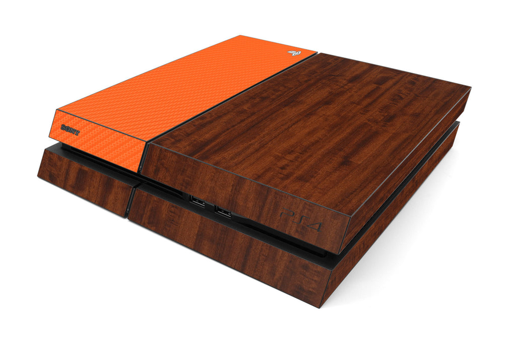 Playstation 4 Two/Tone - Dark Wood/Orange Carbon Fiber - iCarbons