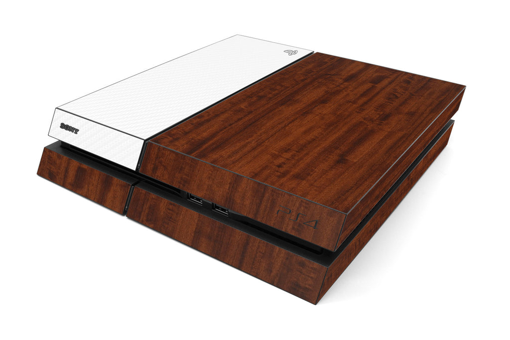 Playstation 4 Two/Tone - Dark Wood/White Carbon Fiber - iCarbons
