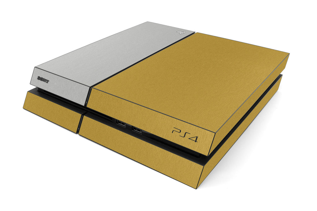 Playstation 4 Two/Tone - Brushed Gold/Aluminum - iCarbons