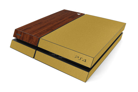 Playstation 4 Two/Tone - Brushed Gold/Dark Wood - iCarbons