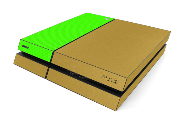 Playstation 4 Two/Tone - Brushed Gold/Green Carbon Fiber - iCarbons