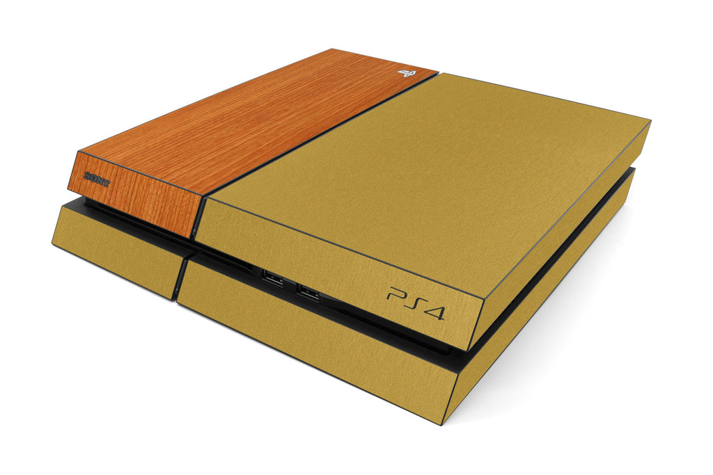 Playstation 4 Two/Tone - Brushed Gold/Light Wood - iCarbons