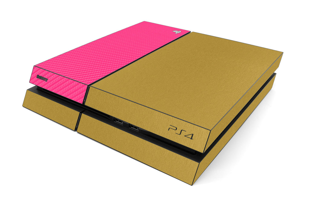 Playstation 4 Two/Tone - Brushed Gold/Pink Carbon Fiber - iCarbons