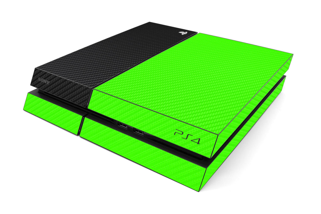 Playstation 4 Two/Tone - Green/Black Carbon Fiber - iCarbons