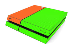 Playstation 4 Two/Tone - Green/Orange Carbon Fiber