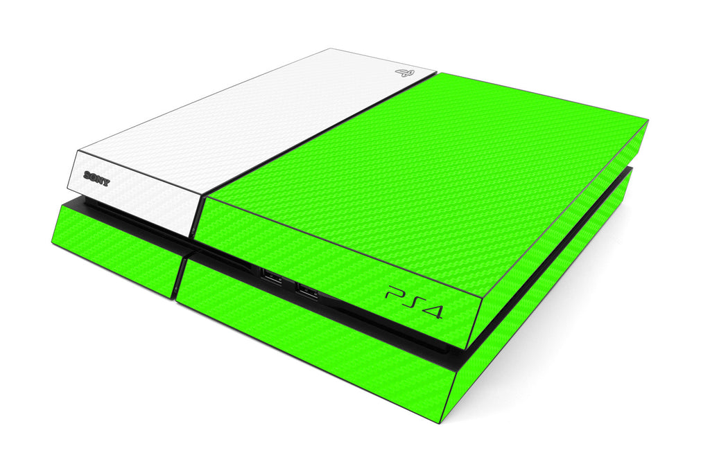 Playstation 4 Two/Tone - Green/White Carbon Fiber - iCarbons