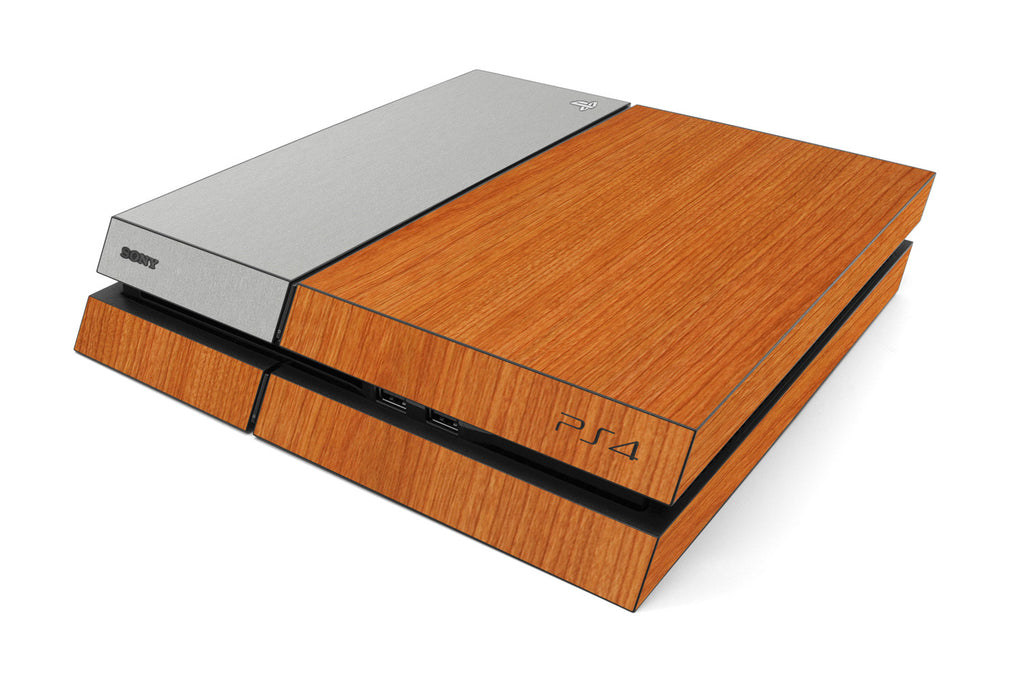 Playstation 4 Two/Tone - Light Wood/Brushed Aluminum - iCarbons