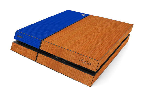 Playstation 4 Two/Tone - Light Wood/Blue Carbon Fiber - iCarbons
