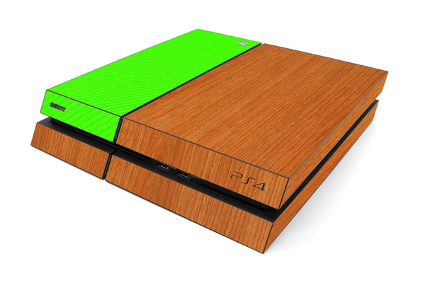 Playstation 4 Two/Tone - Light Wood/Green Carbon Fiber - iCarbons