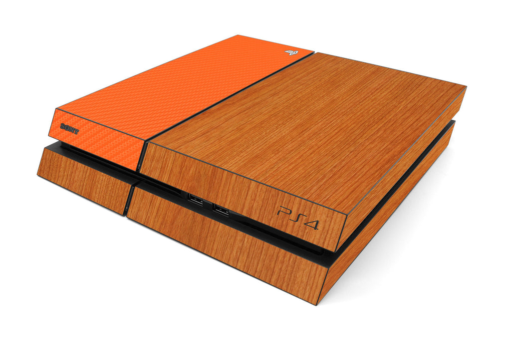 Playstation 4 Two/Tone - Light Wood/Orange Carbon Fiber - iCarbons