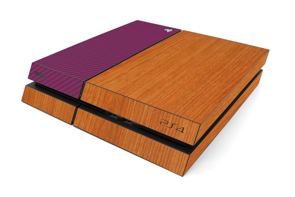 Playstation 4 Two/Tone - Light Wood/Purple Carbon Fiber - iCarbons